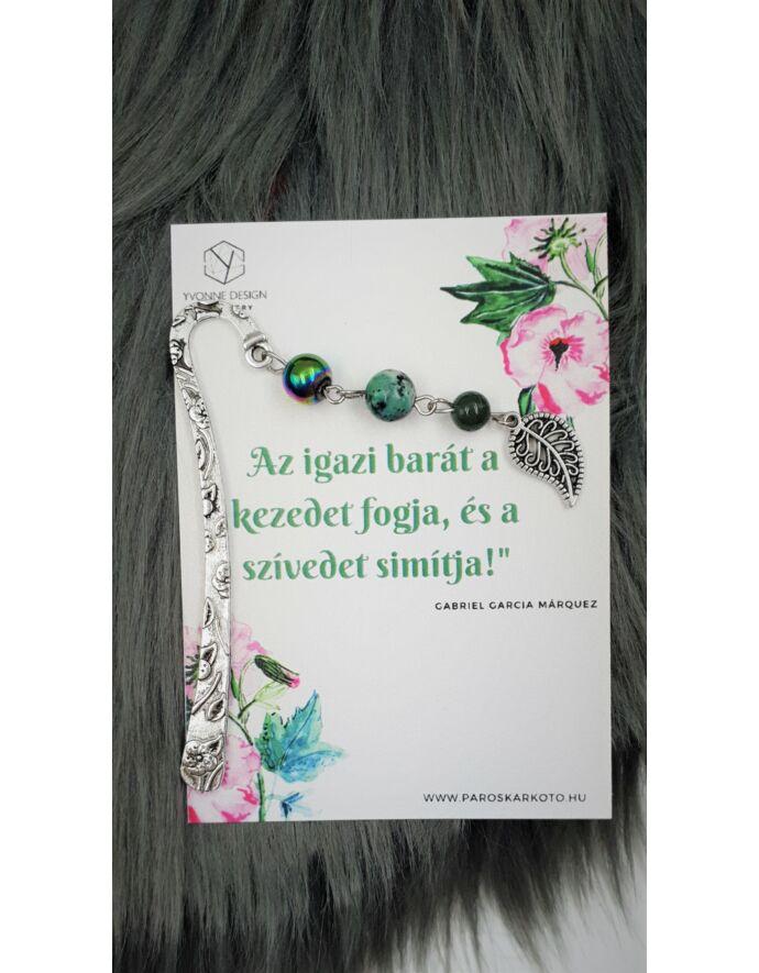 Zöld leveles könyvjelző - idézettel_1