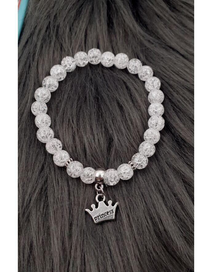 """Álomszép """"Princess"""" korona medálkás lányka ásványkarkötő_1"""