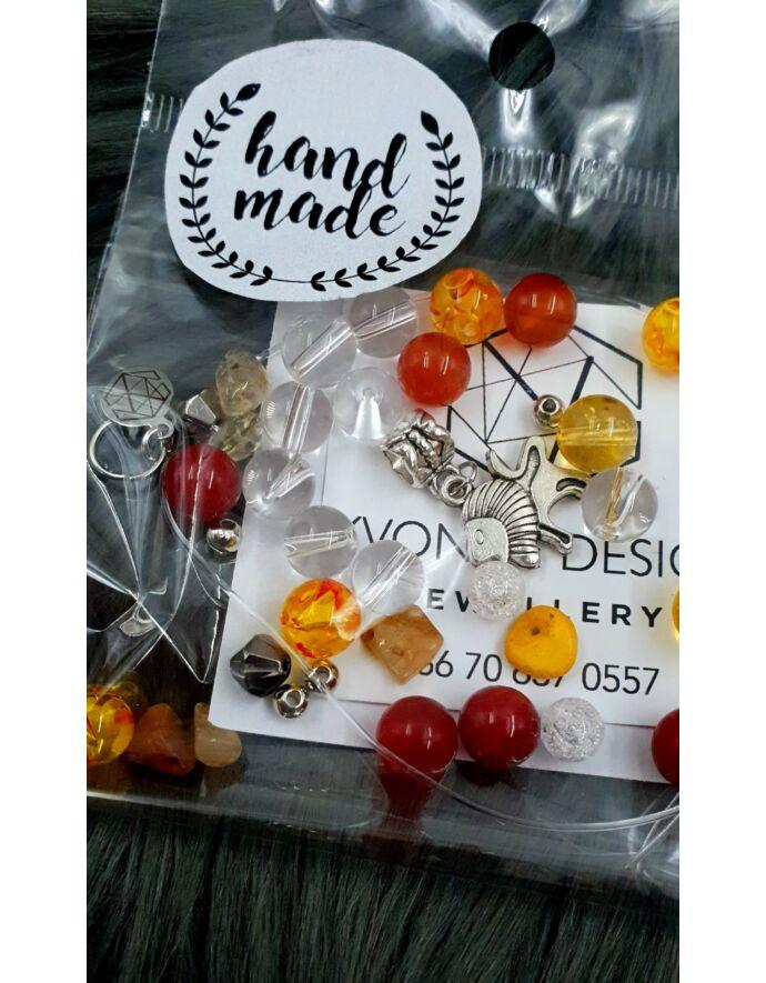 """""""Hand made"""" csomag sárga-piros hand made, hand made csomag, csináld magad, saját ékszer"""