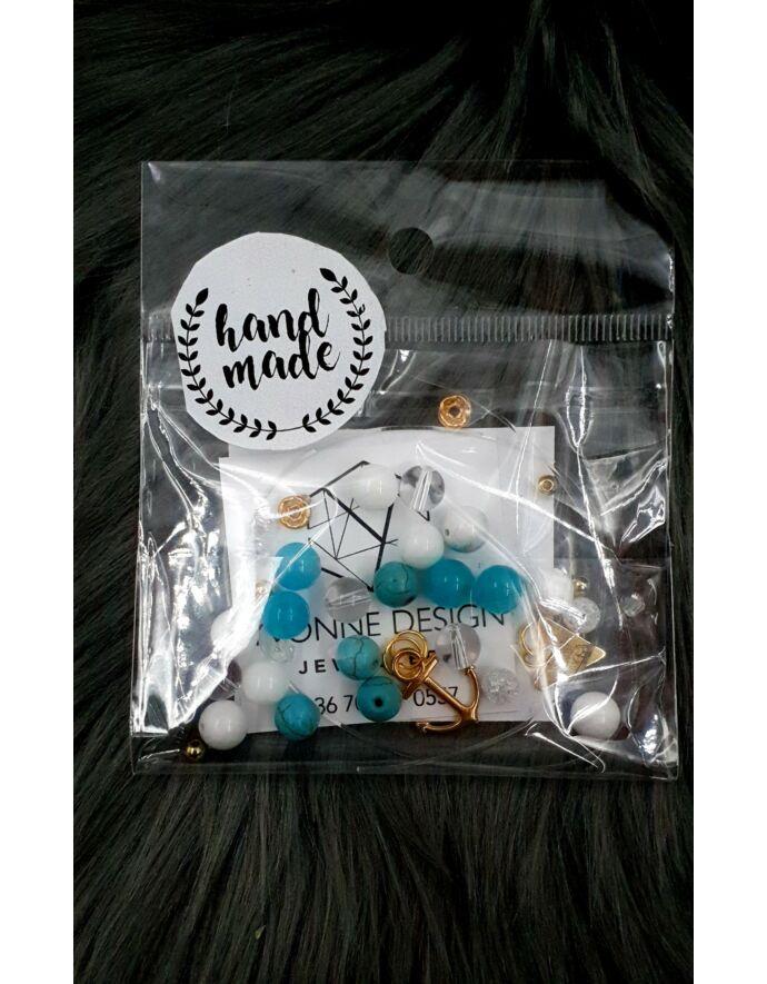 """Hand made"" csomag arany-türkiz hand made, hand made csomag, csináld magad, saját ékszer"