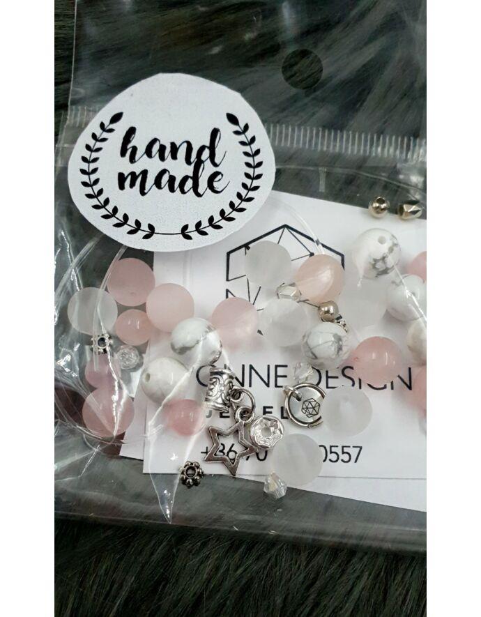 """Hand made"" csomag rózsaszín csillag hand made, hand made csomag, csináld magad, saját ékszer"