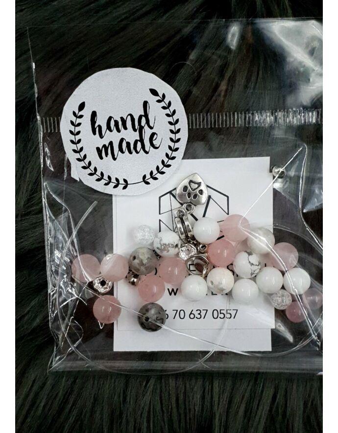 """""""Hand made"""" csomag rózsaszín áttetsző hand made, hand made csomag, csináld magad, saját ékszer"""