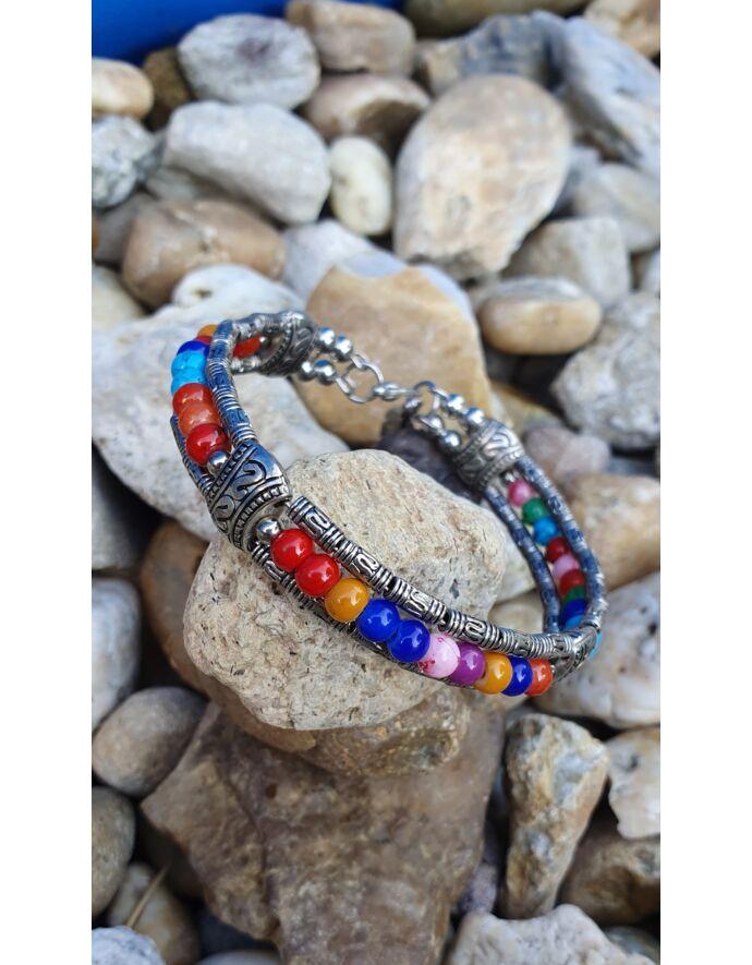 Merev drót karkötő színes gyöngyökkel és toll medállal_1