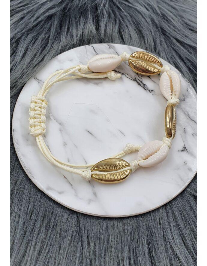 Arany-fehér kagylós zsineg karkötő/bokalánc_2