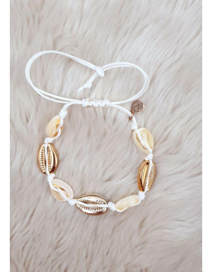 Arany-fehér kagylós zsineg karkötő/bokalánc