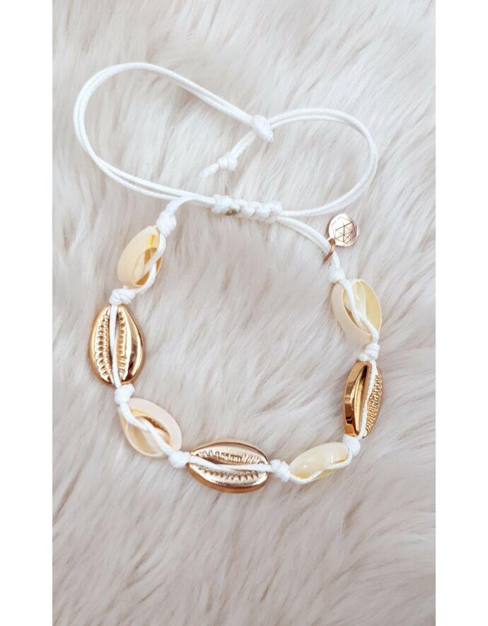 Rosegold-fehér kagylós zsineg karkötő/bokalánc