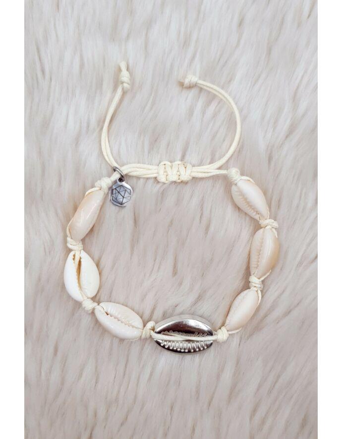 Ezüst-fehér kagylós zsineg karkötő/bokalánc