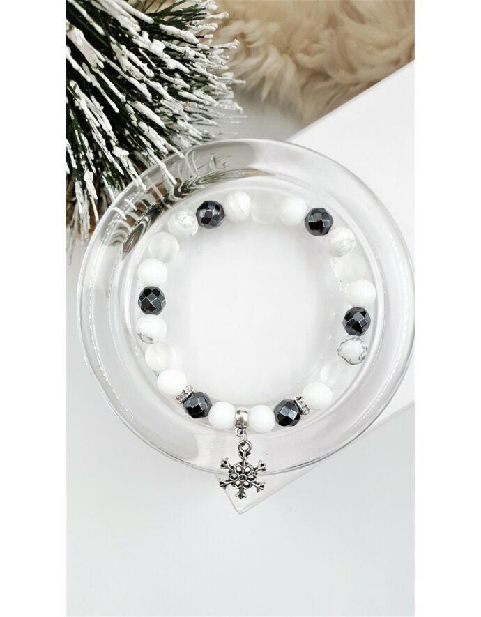 Ezüst hópihe medálos hematit kristálykarkötő