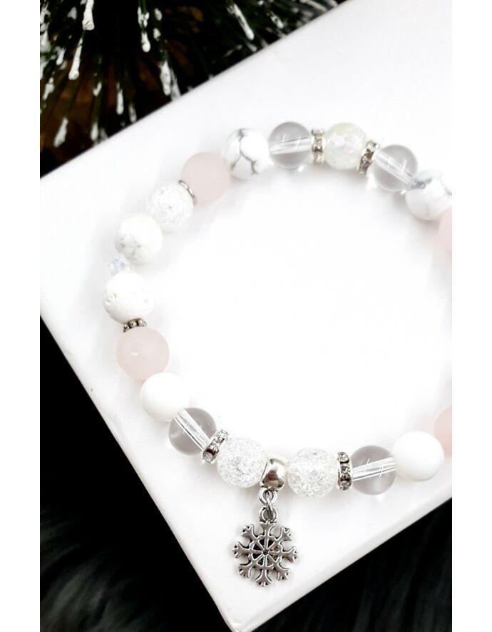 Hópehely kristálykarkötő karácsony, karkötő, ékszer, ásványkarkötő, ajándék, karácsonyi ajándék