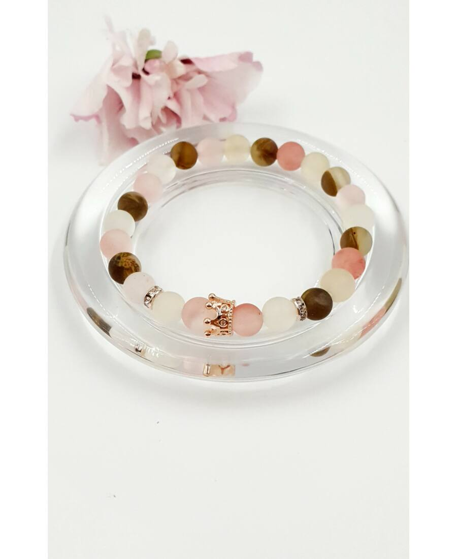 Rosegold korona medálos LUXURY ásványkarkötő ásvány, rózsaopál, rosegold, korona medál,ajándékötlet